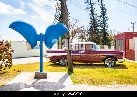 Parked red vintage car, Havana, Cuba - Stock Photo