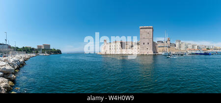 France, Bouches-du-Rhone, Marseille, Old pier, Fort Saint-Jean - Stock Photo