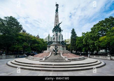 Statue on a square before the Catholic cathedral in Porto Alegre, Rio Grande do Sul, Brazil - Stock Photo
