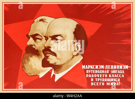 Official Soviet  1961 poster from an official government series of best poster designs. Soviet propaganda poster: Marxism-Leninism The Guiding Star Of The Working Class And Working People All Over The World. Dynamic design featuring the socialist revolutionary Karl Marx (1818-1883) and the communist revolutionary Vladimir Lenin (1870-1924) in front of a red Soviet star radiating out with the text on the side in stylised white letters.  County: Russia, year of printing:1968, designer: V. Sachkov, - Stock Photo