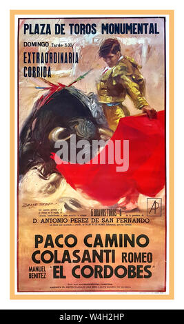 """BULLFIGHTING Vintage POSTER EL CORDOBES BULLFIGHTER 1960's Spanish  poster 1964 DE TOROS MONUMENTAL, EXTRAORDINARIA  CORRIDA… PACO CAMINO / ROMEO COLASANTI / """"EL CORDOBES"""" First edition offset poster. 1964. A typical poster for a Spanish corrida; here performed by two well-know matadors: Paco Camino and """"El Cordobés"""" Bull fighting in Spain now dramatically reduced due to tourists staying away over animal cruelty situation. Plaza de Toros Monumental - Stock Photo"""