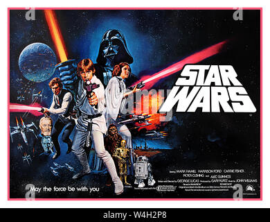 Star Wars 1977 UK 1970's film movie cinema poster for the debut of 'Star Wars' (1977). Star Wars (20th Century Fox, 1978). British Quad Poster Star Wars (also known as Star Wars: Episode IV – A New Hope) is a 1977 American epic space-opera film written and directed by George Lucas. It is the first film in the original Star Wars trilogy and the beginning of the Star Wars franchise. Starring Mark Hamill, Harrison Ford, Carrie Fisher, Peter Cushing, Alec Guinness, David Prowse, James Earl Jones, Anthony Daniels, Kenny Baker, and Peter Mayhew, music John Williams directed by George Lucas - Stock Photo