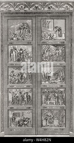 The Bunyan Gates, Bedford, England.  These Bronze doors are decorated with scenes from The Pilgrim's Progress.  From English Pictures, published 1890. - Stock Photo
