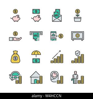 Saving money and investment in colorline icon set.Vector illustration - Stock Photo