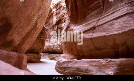 The Main Red Canyon in Petra Archaeological Site - UNESCO Heritage - Stock Photo