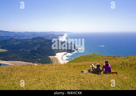 A view of the Pacific Ocean in the summer time from Cascade Head, a coastal mountain along the Oregon Pacific Coast near the town of Lincoln City, Ore - Stock Photo