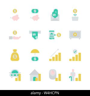 Saving money and investment in flat icon set.Vector illustration - Stock Photo