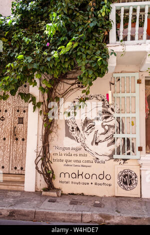 Cartagena Colombia Old Walled City Center historic centre Makondo Hotel Boutique exterior Gabriel Garcia Marquez quotation mural - Stock Photo