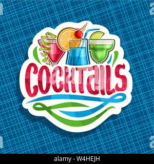 Vector logo for alcoholic Cocktails - Stock Photo