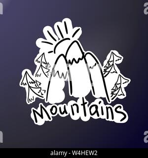 Mountain expedition - doodle style stiker. Logo in flat style. Extreme exploration car decol. Camping hiking creative emblem. Adventure outdoors. Grap - Stock Photo