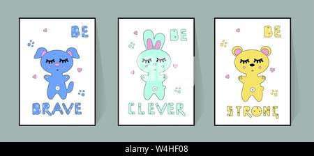 Set of cute nursery posters including bear, banny, dog, tribal elements, phrases: be brave, clever, strong. Delicate colors to decorate the children's - Stock Photo
