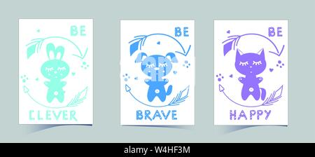 Set of cute nursery posters including puppy, banny, kitten, round arrows, phrases: be brave, clever, happy. Delicate colors to decorate the children's room: blue, green. Vector illustrations for invitations, greeting cards, poster - Stock Photo