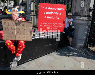 Houses of Parliament, London, UK. 23rd July 2019. Pro and anti Brexit demonstrators outside Parliament in Westminster await the Conservative Party announcement of their next leader and Prime Minister. Credit: Malcolm Park/Alamy Live News. - Stock Photo