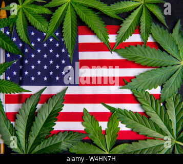 Cannabis leaves framing the american flag with copyspace - veteran theme medical marijuana concept - Stock Photo