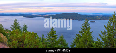 Panoramic view of the Saanich inlet and gulf islands from the Malahat summit in Vancouver Island, BC, Canada - Stock Photo