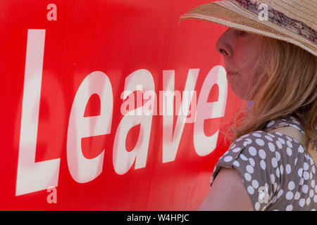 On the day that the Conservative Party elects its leader and the country's Prime Minister, Boris Johnson, Brexiteers show their support on College Green after the result, on 23rd July 2019, in Westminster, London, England. - Stock Photo