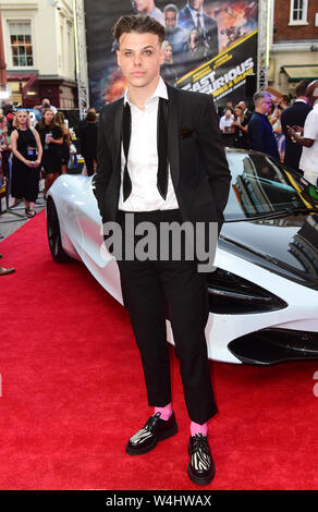 Yungblud attending a special screening of Fast & Furious Presents: Hobbs and Shaw, held at Curzon Mayfair, London. - Stock Photo