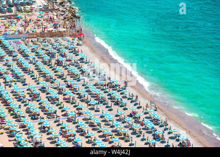 Beautiful view of Vietri sul Mare, the first town on the Amalfi Coast, with the Gulf of Salerno, Campania - Stock Photo