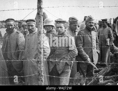German prisoners of war in a French prison camp, circa 1917 - Stock Photo