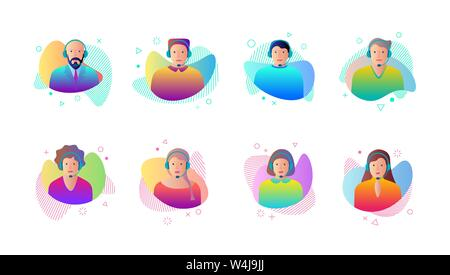 Call center operator avatar set on gradient fluid liquid shape set. Male and female customer support service with headphone communication contact web - Stock Photo