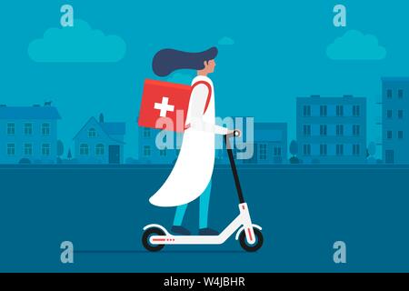 Medicine delivery pharmacy. Young female doctor riding electric scooter with medical surgical sanitary box first aid on cityscape street. Vector - Stock Photo