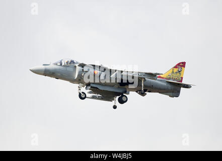 One of two Spanish Navy AV-8B Harrier ii performing at the 2019 RIAT air show, Fairford, Gloucestershire, uk - Stock Photo