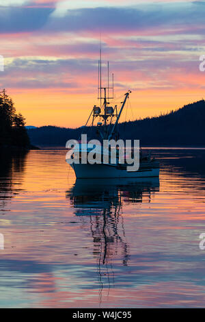 Sunset over Frederick Sound from Cape Fanshaw, Tongass National Forest, Alaska. - Stock Photo