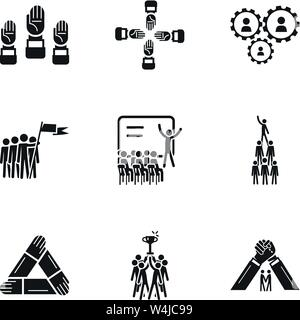 Teamwork icon set. Simple set of 9 teamwork vector icons for web design isolated on white background - Stock Photo