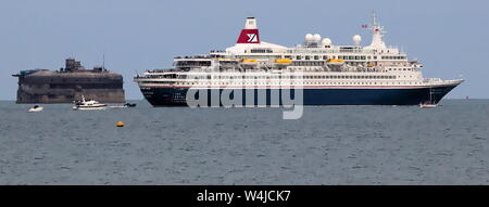 AJAXNETPHOTO. PORTSMOUTH, ENGLAND. 5TH JUNE, 2019. PORTSMOUTH, ENGLAND.  - VETERANS NORMANDY FERRY - FRED OLSEN LINES PASSENGER SHIP BOUDICCA CHARTERED BY THE ROYAL BRITSH LEGION HEADS OUT OF THE SOLENT EN ROUTE TO NORMANDY. Photo:Steve Foulkes/AjaxREF:SF190506 1