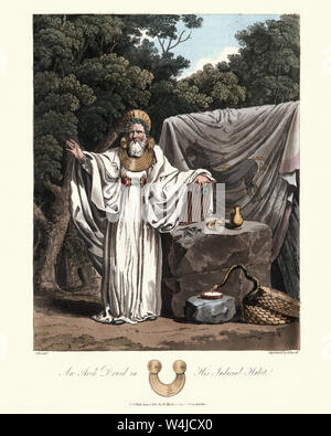 Vintage engraving of Druids, Archdruid in his judicial habit. 1815, The Costume of the Original Inhabitants of the British Islands, by MEYRICK, Samuel - Stock Photo