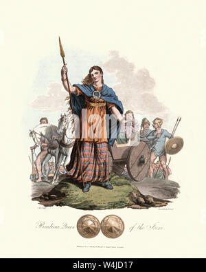 Vintage engraving of Boudica (Boudicca), Queen of the Iceni. 1815, The Costume of the Original Inhabitants of the British Islands, by MEYRICK, Samuel - Stock Photo