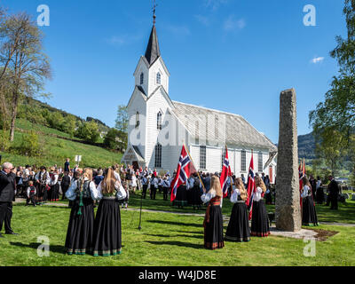 Celebration of the norwegian national day, village Hafslo at lake Hafslovatn, located near the Sognefjord, Norway - Stock Photo