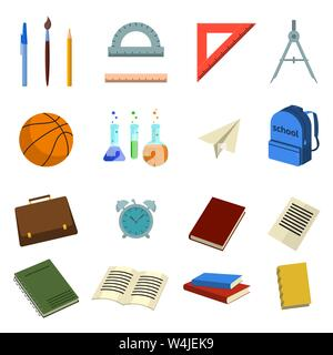 set of icons with school elements on return to school the first of september in flat style in color. Vector illustration - Stock Photo