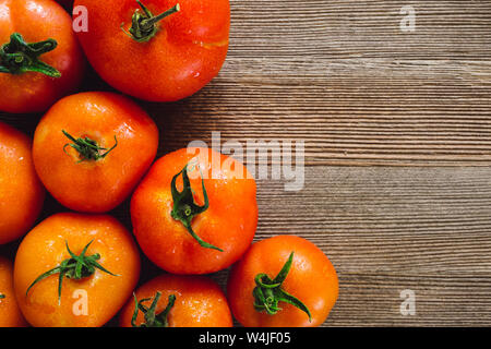 Close up of Freshly Harvested Tomatoes with Space for Copy Stock Photo
