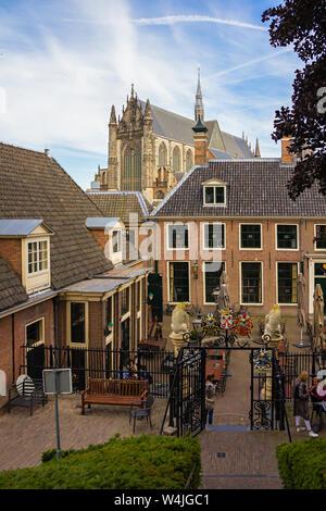Leiden, Holland, Netherlands, May 22, 2019. The view of Hooglandse Kerk from the The Burcht van Leiden (Fort of Leiden), an old shell keep in Leiden - Stock Photo