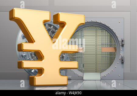 Yen or yuan symbol sign with opened bank vault, 3D rendering isolated on white background - Stock Photo
