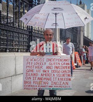 London, UK. 23rd July, 2019. A Brexit supporter demonstrates opposite the Houses of Parliament. Credit: Yiannis Alexopoulos/SOPA Images/ZUMA Wire/Alamy Live News - Stock Photo