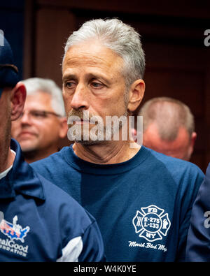 Washington, United States. 23rd July, 2019. Jon Stewart at the press conference held after the passage of H.R.1327 - Never Forget the Heroes: James Zadroga, Ray Pfeifer, and Luis Alvarez Permanent Authorization of the September 11th Victim Compensation Fund Act at the Capitol in Washington, DC. Credit: SOPA Images Limited/Alamy Live News - Stock Photo