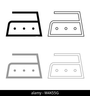 Ironing is allowed high temperature to two hundred 200 degrees Clothes care symbols Washing concept Laundry sign icon outline set black grey color - Stock Photo