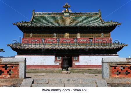 Zuu of Buddha temple in Erdene Zuu Monastery, Orkhon Valley Cultural Landscape World Heritage Site, in Kharkhorin, Karakorum, Ovorkhangai, Mongolia - Stock Photo