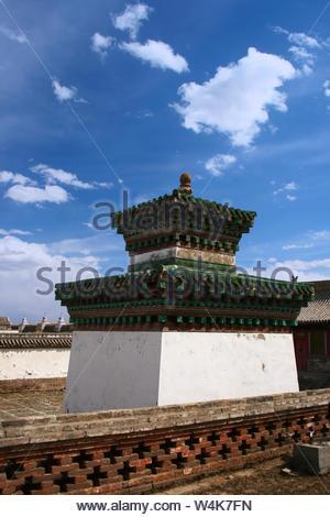 Tower in Erdene Zuu Khiid Monastery, Orkhon Valley Cultural Landscape World Heritage Site, in Kharkhorin (Karakorum), Ovorkhangai Province, Mongolia. - Stock Photo