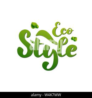 Vector illustration for environmental theme with hand lettering - Eco style. Green inscription with leaves. For web site, eco shop, bag, package - Stock Photo