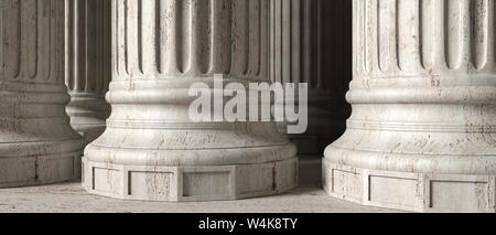 Classic greek columns marble stone, banner. Closeup view with details. 3d illustration - Stock Photo