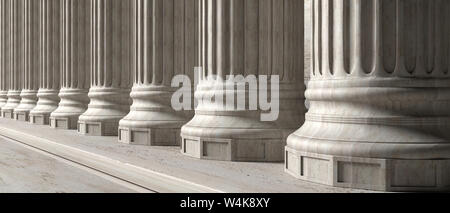 Classic columns and stairs marble stone, banner. Court facade colonade. 3d illustration - Stock Photo