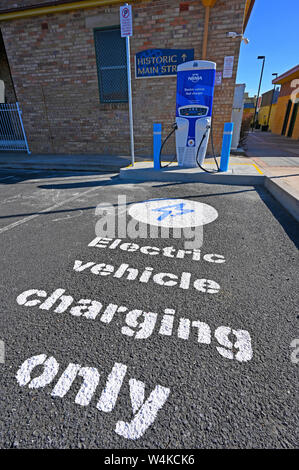 NRMA electric vehicle fast charger behind the historic town hall in Glen Innes in northern new south wales, australia - Stock Photo