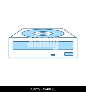 CD-ROM Icon. Thin Line With Blue Fill Design. Vector Illustration. - Stock Photo