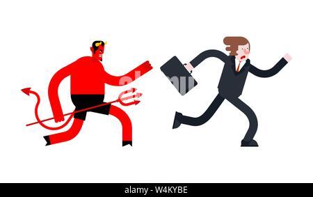 Businessman runs away from Devil. Satan is running after boss - Stock Photo