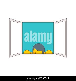 Man Peeps out window isolated. vector illustration - Stock Photo
