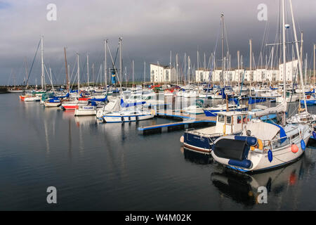 Irvine Harbour with boats and yachts in it - Stock Photo