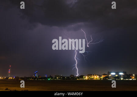 Lightning storms rage over Portsmouth on July 23rd 2019 - Stock Photo